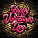 Jour de valentines heureux d'inscription élégante calligraphique de vecteur sur le fond jaune de mosaïque image libre de droits