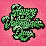 Jour de valentines heureux d'inscription élégante calligraphique de vecteur sur le fond rouge de bokeh photographie stock