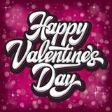 Jour de valentines heureux d'inscription élégante calligraphique de vecteur sur le fond rouge de bokeh images stock