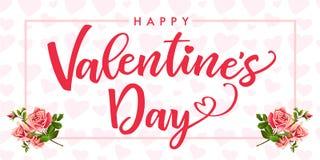 Jour de valentines heureux, fleur rose et carte élégante de coeurs Image libre de droits