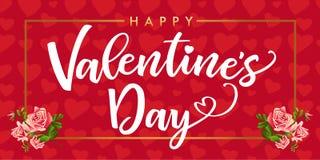 Jour de valentines heureux, fleur rose et rouge élégant de carte de coeurs Photo libre de droits