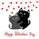 Jour de valentines heureux Gray Cat noir étreignant la famille de couples Étreinte rouge de coeurs, étreinte, caresse Carte de vo illustration de vecteur