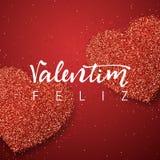 Jour de valentines heureux inscription de fait main portugais Photo libre de droits