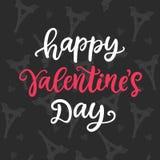 Jour de valentines heureux Lettrage tiré par la main de brosse Photographie stock