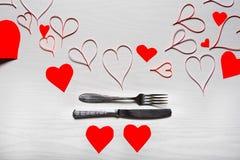 Jour de valentines réglé avec l'argenterie Le concept de Valentine Day Images stock