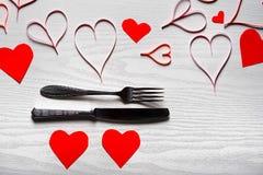 Jour de valentines réglé avec l'argenterie Le concept de Valentine Day Image stock