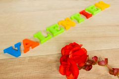 Jour de valentines - rose et mots de rouge faits à partir des lettres colorées Photographie stock