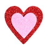 Jour de valentines. Scintillement rouge et coeurs roses d'isolement sur le blanc Image libre de droits