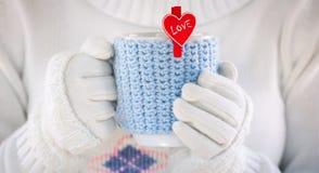 Jour de valentines tricoté de tasse de laine Image libre de droits