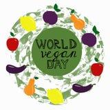 Jour de vegan du monde Calibre, bannière, affiche illustration libre de droits