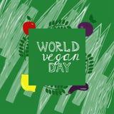 Jour de vegan du monde Calibre, bannière, affiche illustration stock