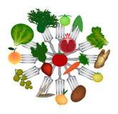 Jour de vegan du monde Fruits et légumes sur des fourchettes Chou, pommes de terre, carottes, brocoli, pomme, grenade, groseille, illustration de vecteur