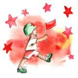 Jour de victoire Le garçon avec le drapeau illustration de vecteur