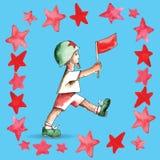 Jour de victoire Le garçon avec le drapeau illustration libre de droits