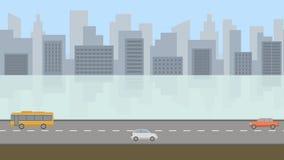 Jour de ville Fond panoramique 4K d'animation de boucle de bande dessinée plate clips vidéos