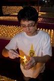 Jour de Wesak au temple bouddhiste de Maha Vihara Photo stock
