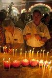 Jour de Wesak au temple bouddhiste de Maha Vihara Images libres de droits
