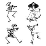 Jour des morts Vacances nationales mexicaines Inscription originale en Spanish Dia de los Muertos Squelettes dans des costumes Images libres de droits