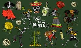 Jour des morts Vacances nationales mexicaines Inscription originale en Spanish Dia de los Muertos Squelettes dans des costumes Photos libres de droits