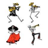 Jour des morts Vacances nationales mexicaines Inscription originale en Spanish Dia de los Muertos Squelettes dans des costumes Photo libre de droits