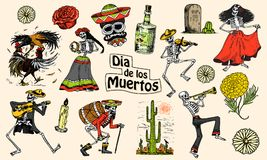 Jour des morts Vacances nationales mexicaines Inscription originale en Spanish Dia de los Muertos Squelettes dans des costumes Photographie stock