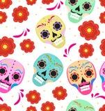 Jour des vacances mortes dans le modèle sans couture du Mexique avec des crânes de sucre Fond sans fin squelettique muertos de de illustration de vecteur