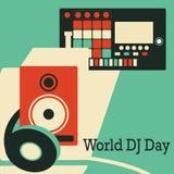 Jour du DJ du monde Illustration de vecteur avec des écouteurs contrôleur du Midi et système stéréo illustration stock