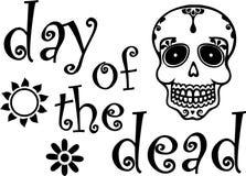 Jour du graphique noir mort avec le crâne Image stock