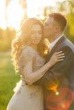 Jour du mariage d'amour de couples de mariage en nature Images libres de droits