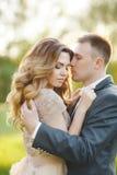 Jour du mariage d'amour de couples de mariage en nature Photos stock