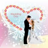 Jour du mariage, jeunes mariés illustration de vecteur