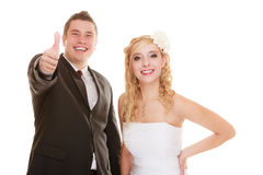 Jour du mariage Jeunes mariés heureux de couples de portrait Photos stock