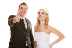 Jour du mariage Jeunes mariés heureux de couples de portrait Photographie stock