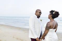 Jour du mariage du ` s de couples d'afro-américain Image libre de droits