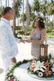 Jour du mariage sur la plage Photographie stock libre de droits