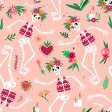 Jour du modèle sans couture mort avec les squelettes drôles dansant et célébrant des vacances mexicaines traditionnelles festive illustration stock