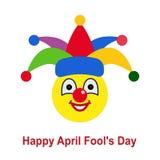 Jour du ` s d'April Fool Boule souriante comme clown dans le cirque Image stock