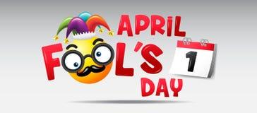 Jour du ` s d'imbécile d'avril, typographie, bande dessinée drôle sur le fond coloré Images stock