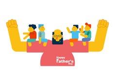 Jour du `s de père Le papa tient des enfants dans des ses bras Les enfants reposent o Photo stock