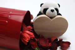 Jour du ` s de Panda Plush Doll Celebrates Valentine Photo stock