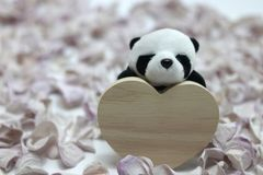Jour du ` s de Panda Plush Doll Celebrates Valentine Photos stock
