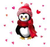 Jour du ` s de pingouin et de Valentine illustration stock