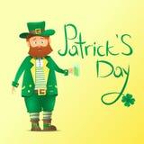 Jour du ` s de St Patrick Inscription calligraphique Gros personnage de dessin animé avec une barbe rouge Image libre de droits
