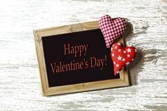 Jour du ` s de Valentine, blanc, cadre, deux coeurs, amour, félicitation, Photographie stock libre de droits