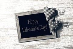 Jour du ` s de Valentine, blanc, cadre, deux coeurs, amour, félicitation, Photos stock