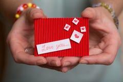 Jour du ` s de Valentine - carte de voeux Photographie stock