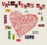 Jour du ` s de Valentine, coeur et illustration d'amour, style grunge, vect Photos stock