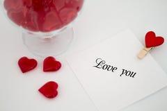 Jour du ` s de Valentine de note d'amour Photographie stock libre de droits