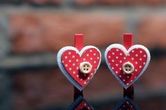 Jour du ` s de Valentine de pince à linge d'amour Photographie stock libre de droits