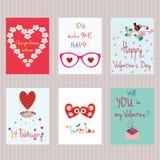 Jour du `s de Valentine Ensemble de cartes Photos stock